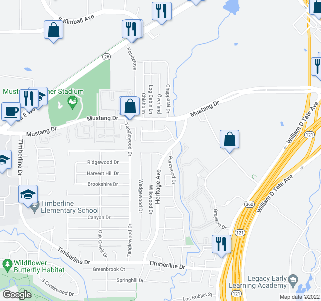 map of restaurants, bars, coffee shops, grocery stores, and more near 2704 Harmon Dr in Grapevine