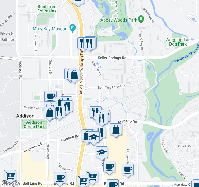 map of restaurants, bars, coffee shops, grocery stores, and more near 15503-15657 Knoll Trail Dr in Dallas