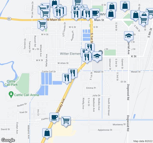 map of restaurants, bars, coffee shops, grocery stores, and more near 231 Cattle Call Dr in Bra