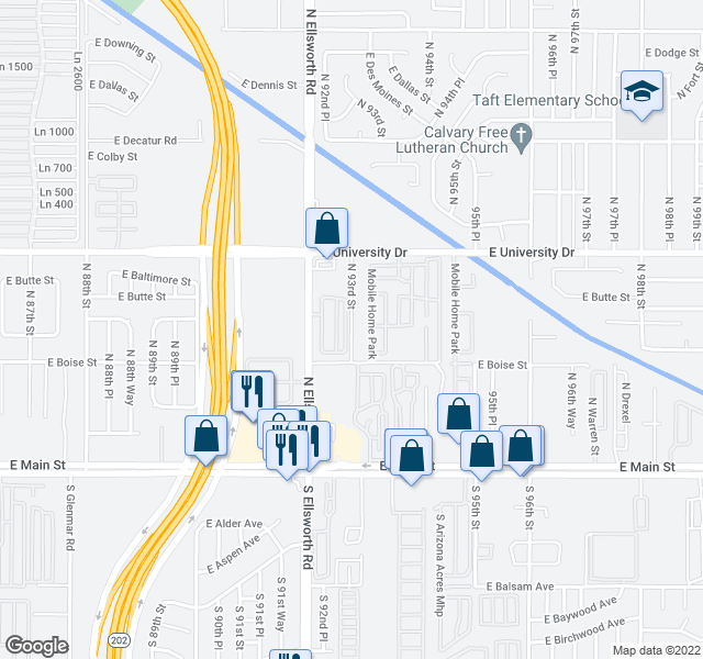map of restaurants, bars, coffee shops, grocery stores, and more near Mobile Home Park in Mesa