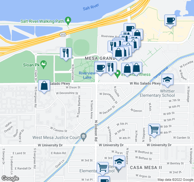 map of restaurants, bars, coffee shops, grocery stores, and more near 755 N Santa Anna in Mesa