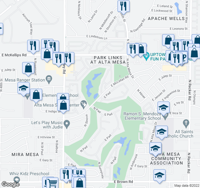 map of restaurants, bars, coffee shops, grocery stores, and more near 5345-5399 E McLellan Rd in Mesa