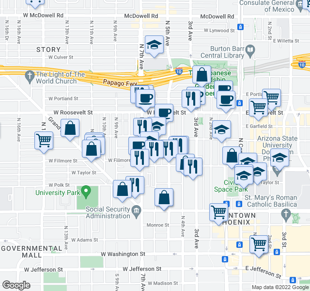 map of restaurants, bars, coffee shops, grocery stores, and more near 634 N 6th Ave in Phoenix