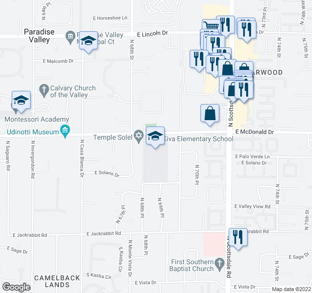 map of restaurants, bars, coffee shops, grocery stores, and more near N 68th Pl in Paradise Valley