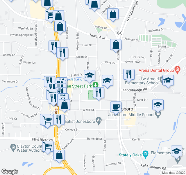 map of restaurants, bars, coffee shops, grocery stores, and more near 144 Smith St in Jonesboro