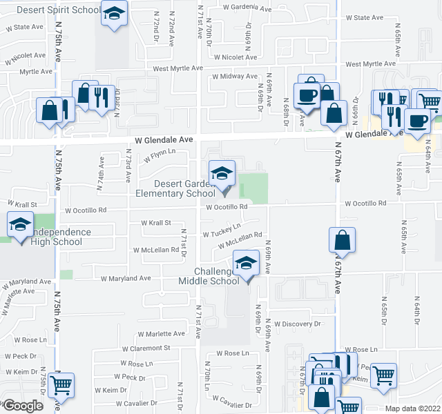 map of restaurants, bars, coffee shops, grocery stores, and more near 7024 W Krall St in Glendale