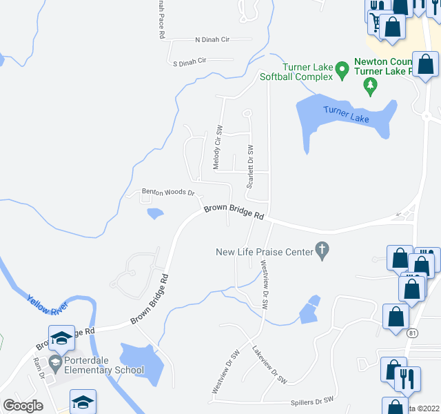 map of restaurants, bars, coffee shops, grocery stores, and more near 10107 Brown Bridge Road in Covington