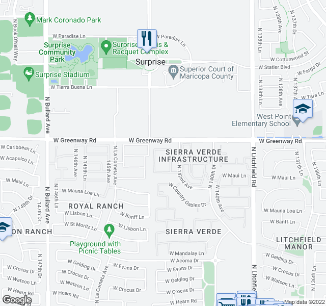 map of restaurants, bars, coffee shops, grocery stores, and more near 3552 W Naomi Ln in Surprise