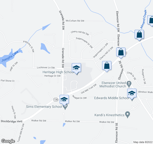 map of restaurants, bars, coffee shops, grocery stores, and more near 1593 Cherry Hill Rd SW in Conyers