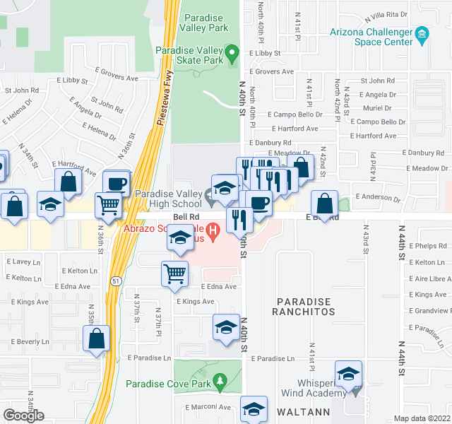 map of restaurants, bars, coffee shops, grocery stores, and more near 3899-3999 E Bell Rd in Phoenix