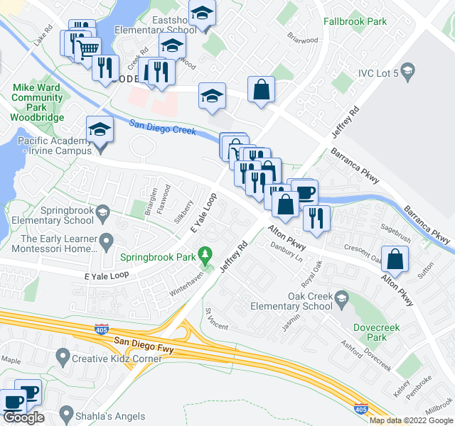map of restaurants, bars, coffee shops, grocery stores, and more near 5300-5498 Alton Pkwy in Irvine