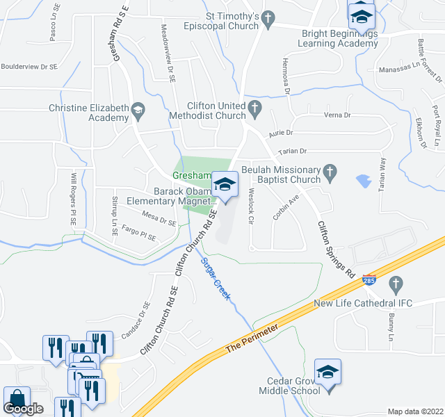 map of restaurants, bars, coffee shops, grocery stores, and more near 3057 Weslock Circle in Decatur