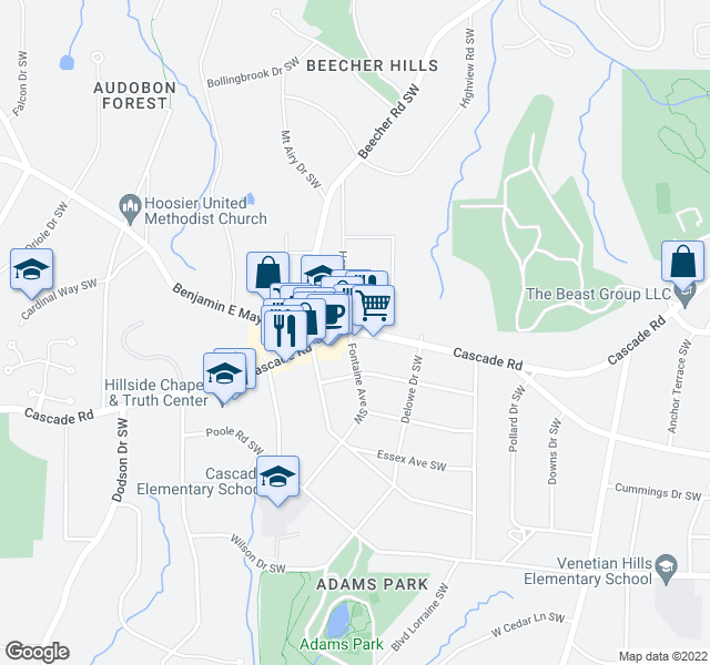 map of restaurants, bars, coffee shops, grocery stores, and more near 1151-1235 Dolphin Dr SW in Atlanta