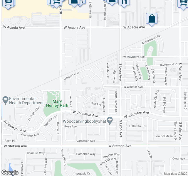 map of restaurants, bars, coffee shops, grocery stores, and more near 2085 Begonia Court in Hemet