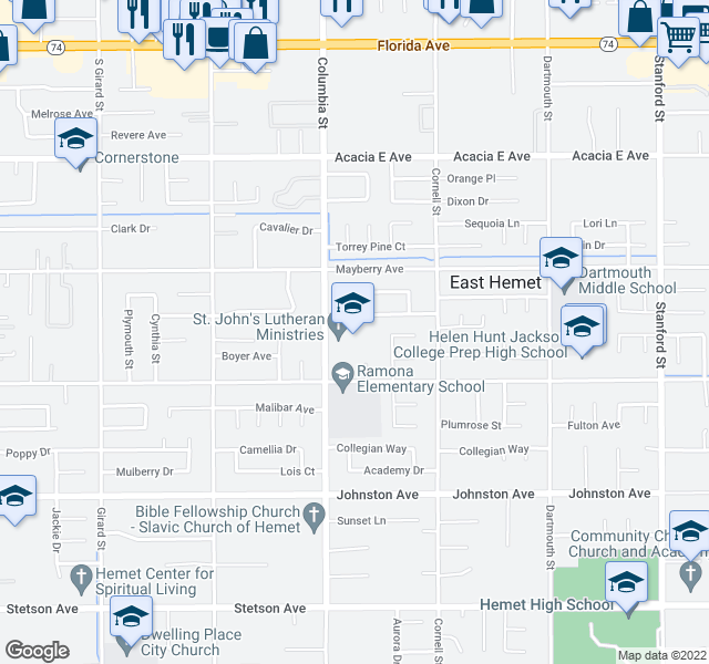 map of restaurants, bars, coffee shops, grocery stores, and more near 26410 Columbia St in Hemet