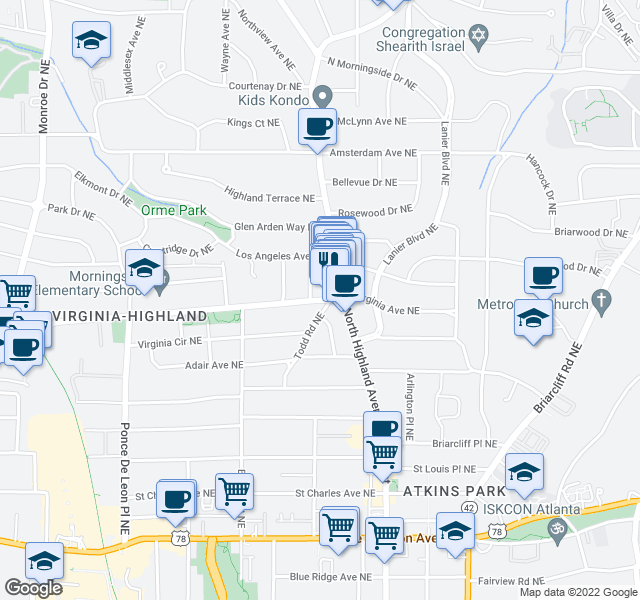 map of restaurants, bars, coffee shops, grocery stores, and more near 1039 Vance Avenue Northeast in Atlanta