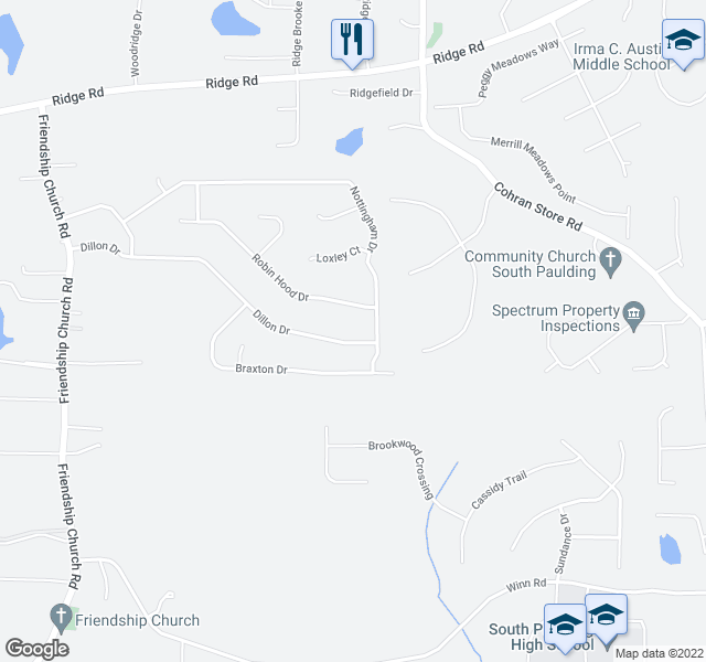 map of restaurants, bars, coffee shops, grocery stores, and more near 27 Robin Hood Dr in Douglasville