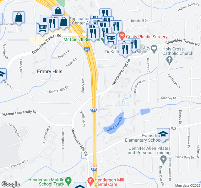 map of restaurants, bars, coffee shops, grocery stores, and more near 3216-3230 Henderson Mill Rd in Atlanta