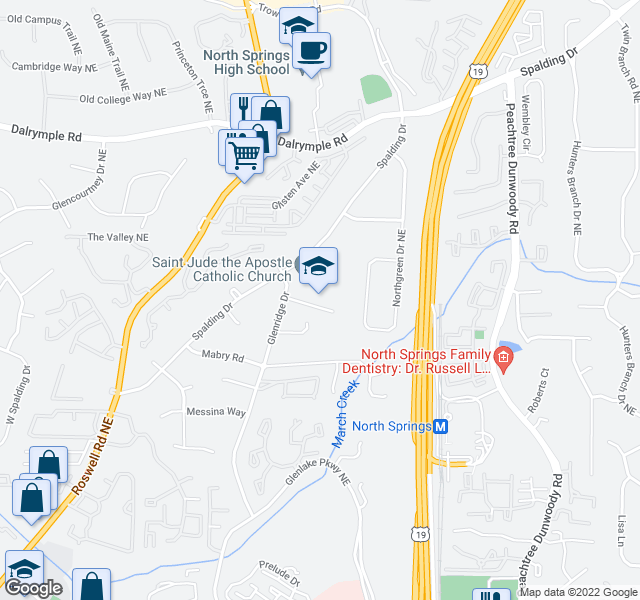 map of restaurants, bars, coffee shops, grocery stores, and more near 7171 Glenridge Dr NE in Atlanta