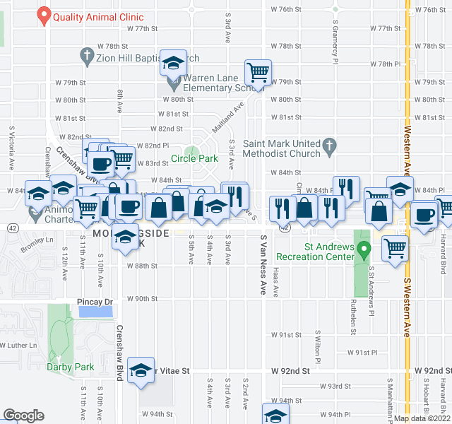 map of restaurants, bars, coffee shops, grocery stores, and more near 2401 W Manchester Blvd in Inglewood