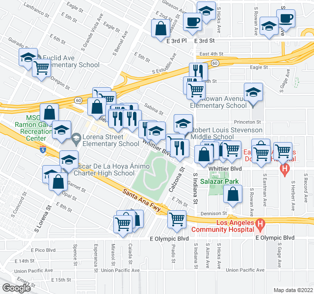 map of restaurants, bars, coffee shops, grocery stores, and more near 3607 Whittier Blvd in Los Angeles