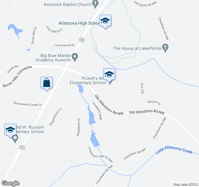 map of restaurants, bars, coffee shops, grocery stores, and more near 6238-6412 Old Stilesboro Rd NW in Acworth