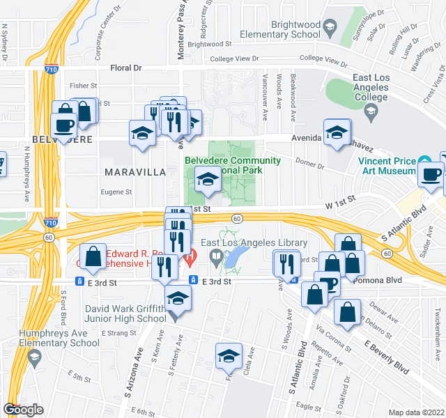 map of restaurants, bars, coffee shops, grocery stores, and more near Pomona Fwy in East Los Angeles