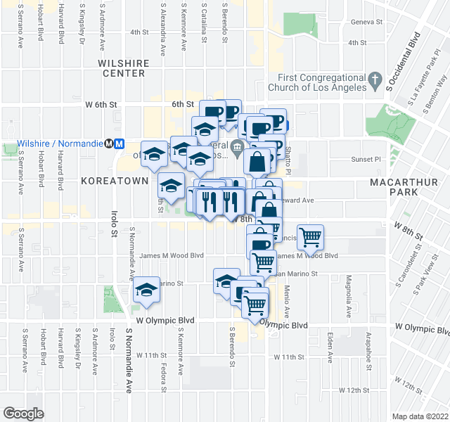 map of restaurants, bars, coffee shops, grocery stores, and more near 3120-3128 West 8th Street in Los Angeles