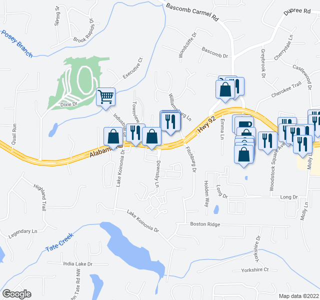 map of restaurants, bars, coffee shops, grocery stores, and more near 1-123 Downsby Lane in Woodstock