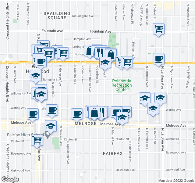 map of restaurants, bars, coffee shops, grocery stores, and more near 916 N Gardner St in West Hollywood