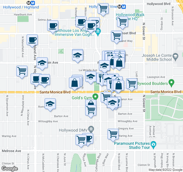 map of restaurants, bars, coffee shops, grocery stores, and more near 6446 Lexington Ave in Los Angeles