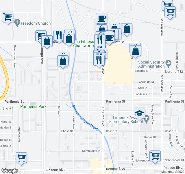 map of restaurants, bars, coffee shops, grocery stores, and more near 20942 Gresham St in Los Angeles