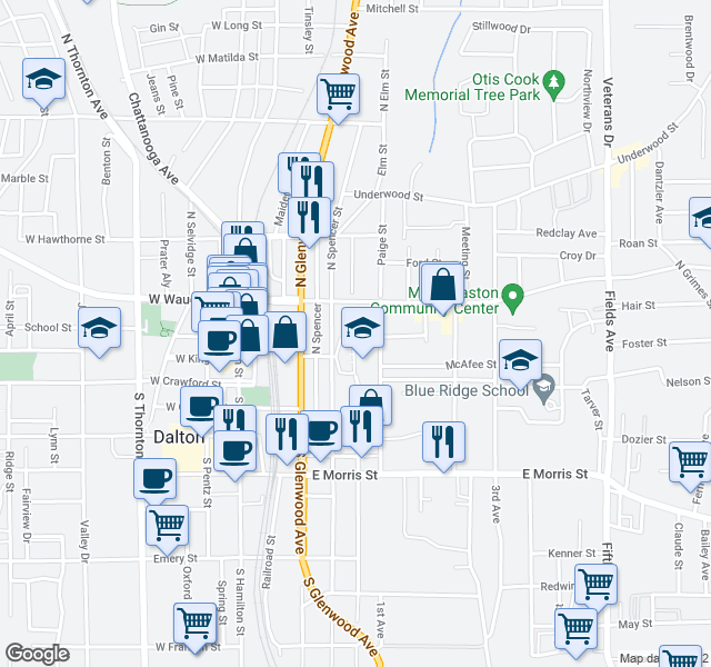 map of restaurants, bars, coffee shops, grocery stores, and more near 214 Fort Hill Terrace in Dalton