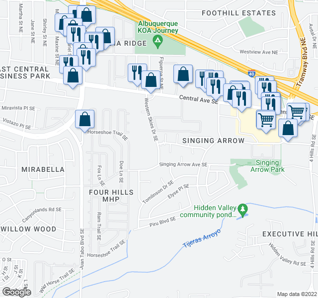 map of restaurants, bars, coffee shops, grocery stores, and more near 401-499 Western Skies Drive Southeast in Albuquerque
