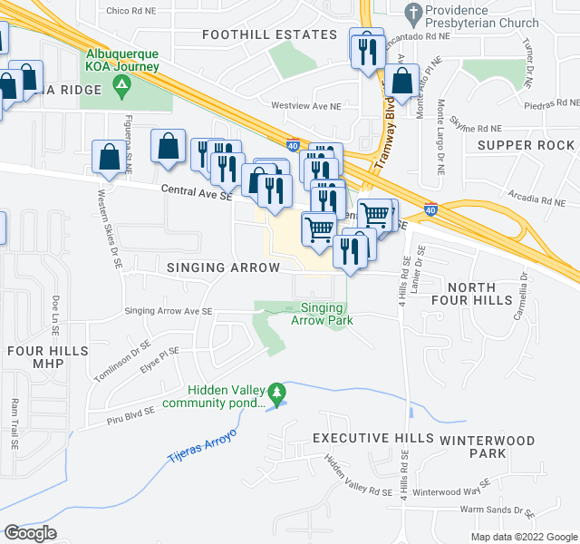 map of restaurants, bars, coffee shops, grocery stores, and more near 13150 Wenonah Ave SE in Albuquerque
