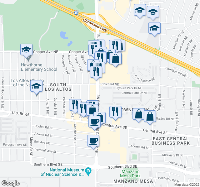 map of restaurants, bars, coffee shops, grocery stores, and more near 10409 Clyburn Park Dr NE in Albuquerque