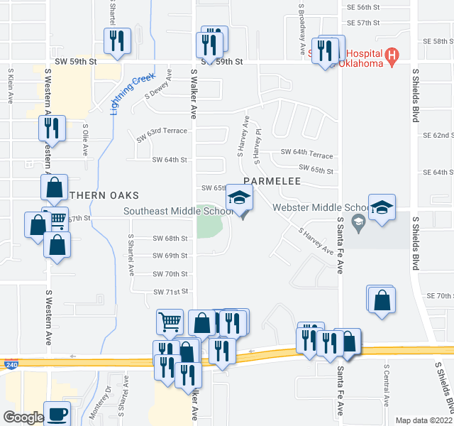 map of restaurants, bars, coffee shops, grocery stores, and more near 6701-6799 S Hudson Ave in Oklahoma City