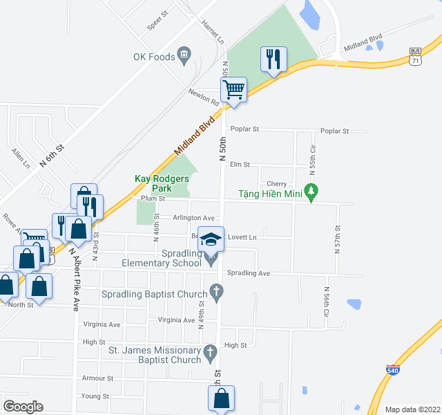 map of restaurants, bars, coffee shops, grocery stores, and more near 4000-4098 North 50th Street in Fort Smith