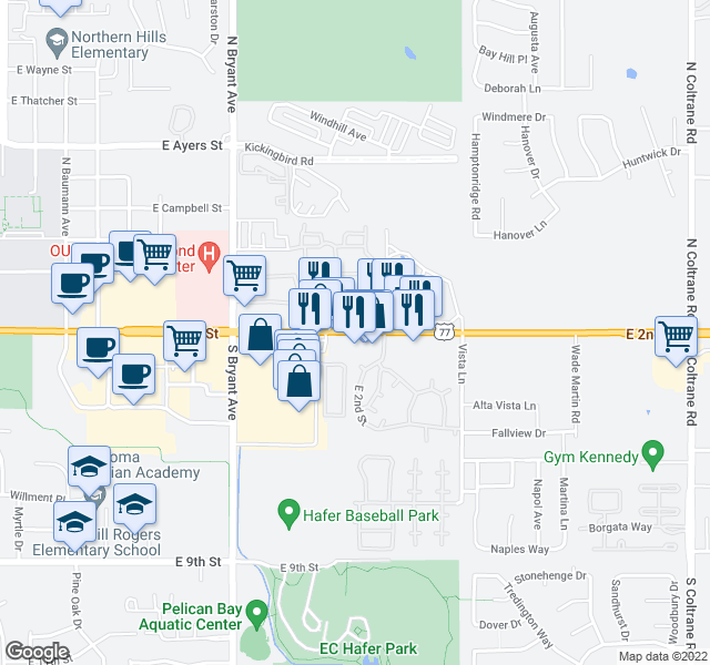 map of restaurants, bars, coffee shops, grocery stores, and more near 1910 East 2nd Street in Edmond