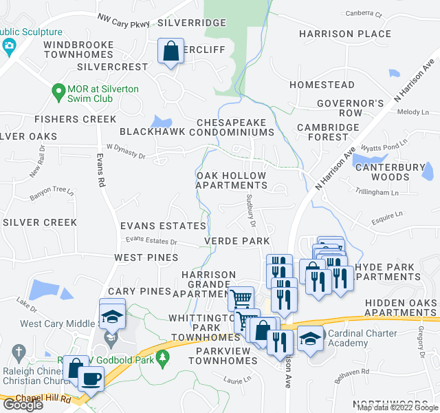 map of restaurants, bars, coffee shops, grocery stores, and more near 114 Gorecki Place in Cary