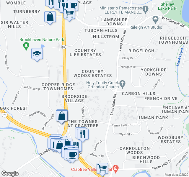 map of restaurants, bars, coffee shops, grocery stores, and more near 2105 Ravenglass Pl in Raleigh