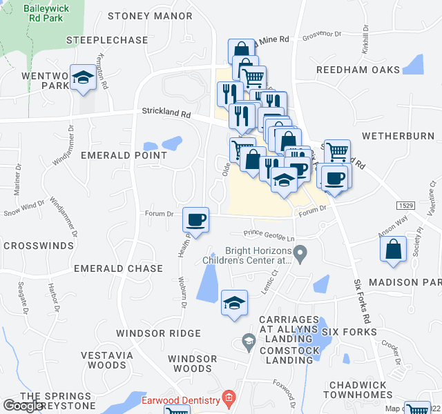 map of restaurants, bars, coffee shops, grocery stores, and more near 8528 New Brunswick Lane in Raleigh