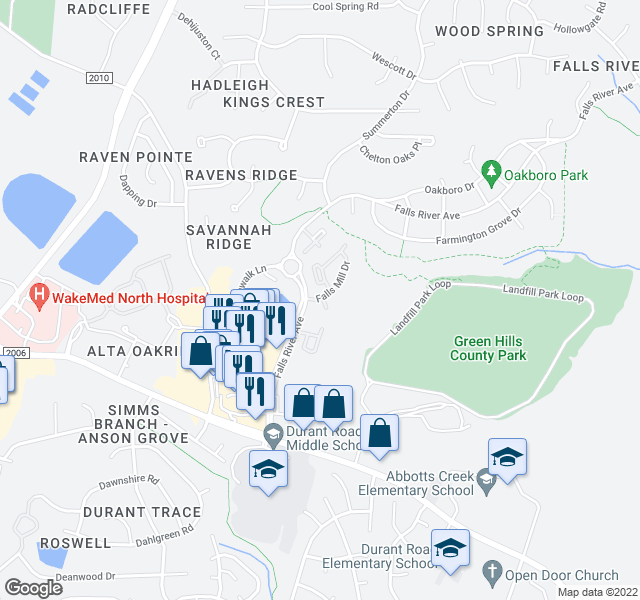 map of restaurants, bars, coffee shops, grocery stores, and more near Burningbush Lane in Raleigh