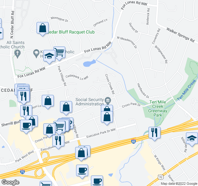 map of restaurants, bars, coffee shops, grocery stores, and more near 9098 Grayland Dr NW in Knoxville