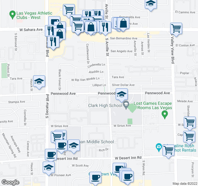 map of restaurants, bars, coffee shops, grocery stores, and more near 4509 Lilliput Ln in Las Vegas