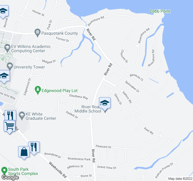 map of restaurants, bars, coffee shops, grocery stores, and more near 1703 River Rd in Elizabeth City