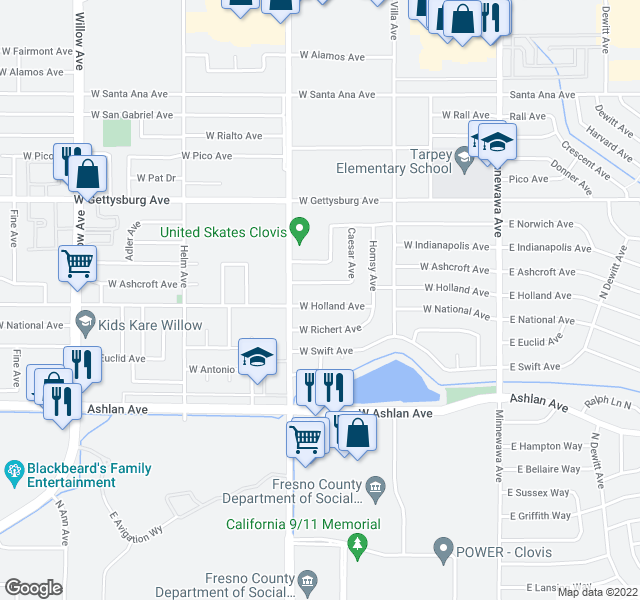 map of restaurants, bars, coffee shops, grocery stores, and more near 330 W Ashcroft Ave in Clovis