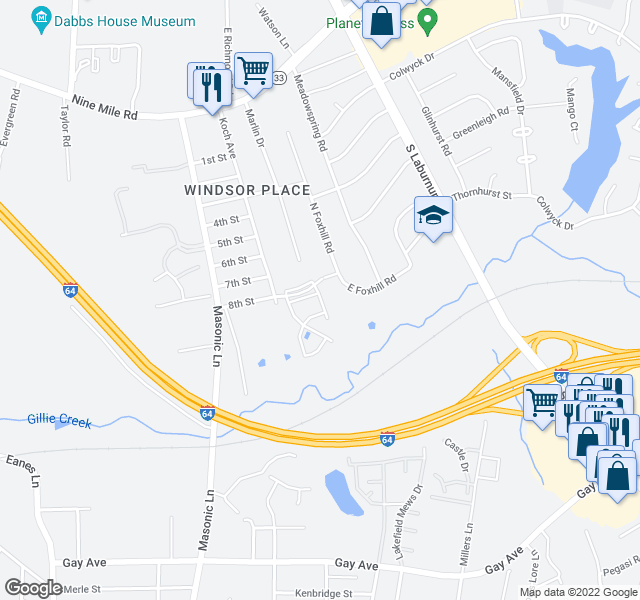 map of restaurants, bars, coffee shops, grocery stores, and more near 4417 Foxfire Ln in Richmond