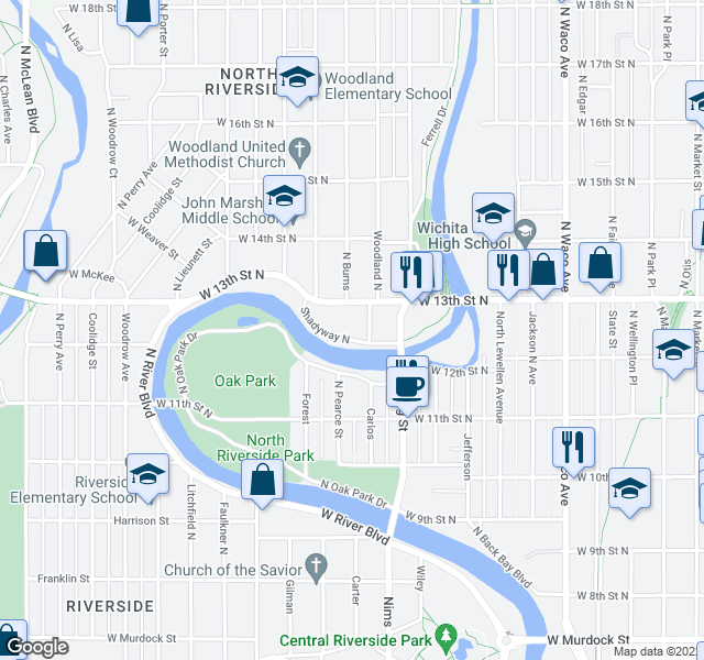map of restaurants, bars, coffee shops, grocery stores, and more near 918 Shady Way in Wichita