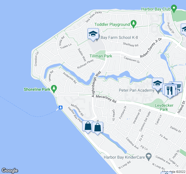 map of restaurants, bars, coffee shops, grocery stores, and more near 127 Keil Bay in Alameda